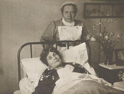 Emmeline Pankhurst recovering from hunger strike 1913 at