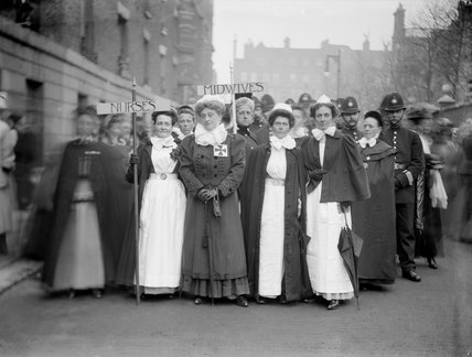 Suffragette procession of nurses and midwives 1909 by