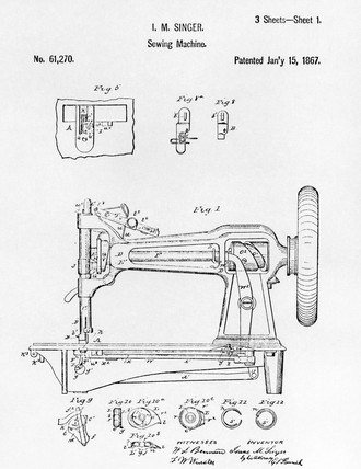 Patent drawing of an early Singer round bobbin sewing