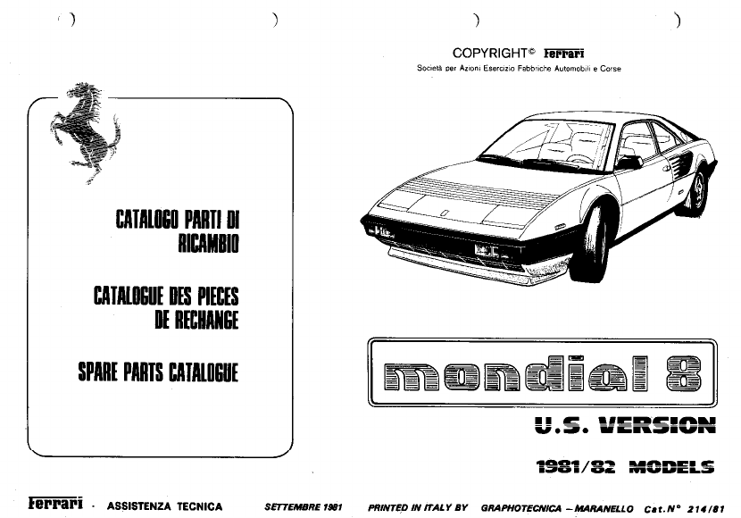Ferrari Mondial 1981 1982 Misc Documents Spare Parts