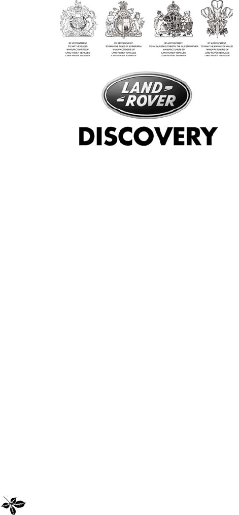 Land Rover Discovery 2003 Owners Manual PDF