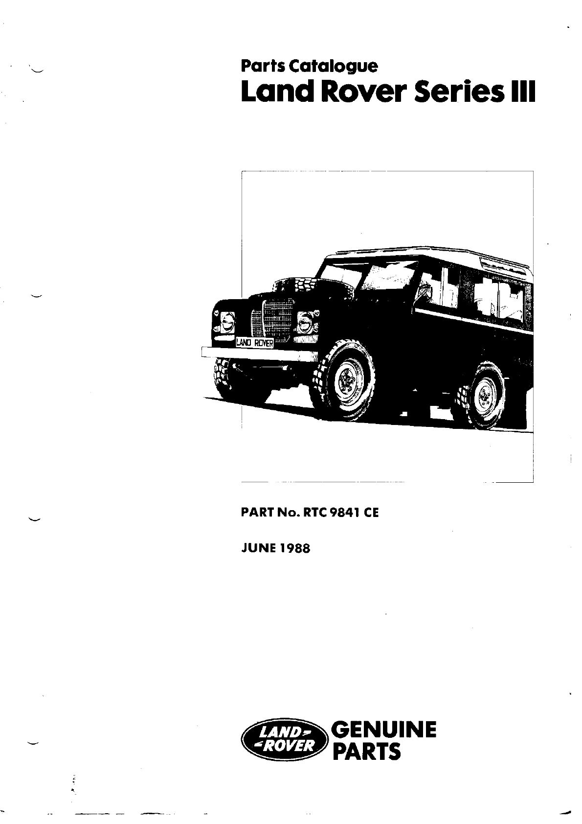 Land Rover Series III 1988 Misc Documents Parts Catalogue PDF