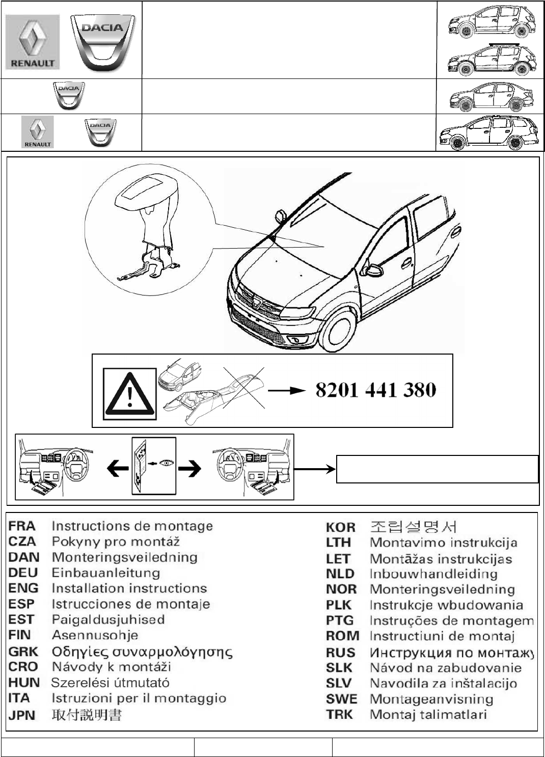 Dacia Sandero Misc Documents Fitting Instructions