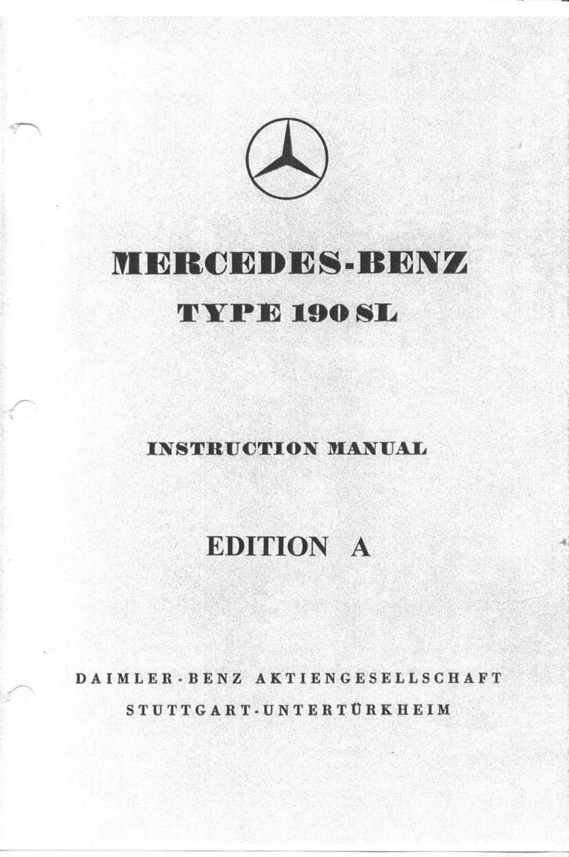 Mercedes 190 1955 Owners Manual PDF