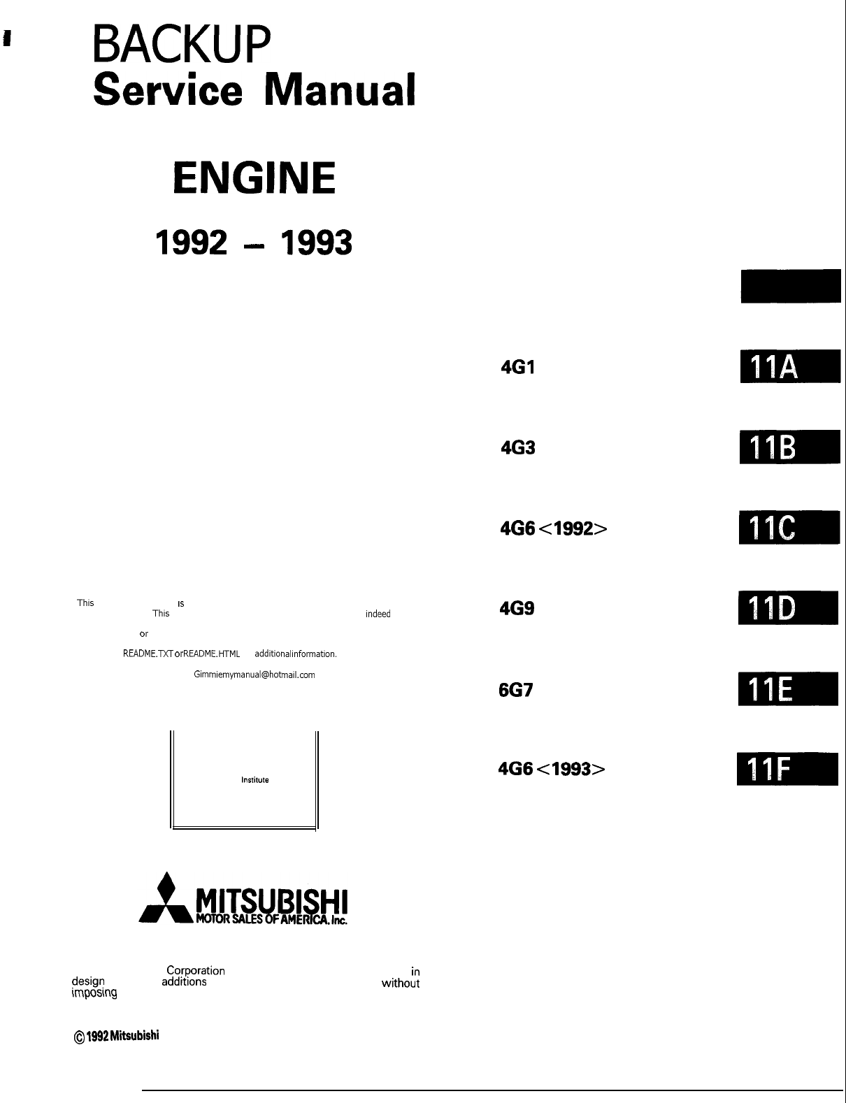 Mitsubishi Galant Workshop Manual Back Up PDF
