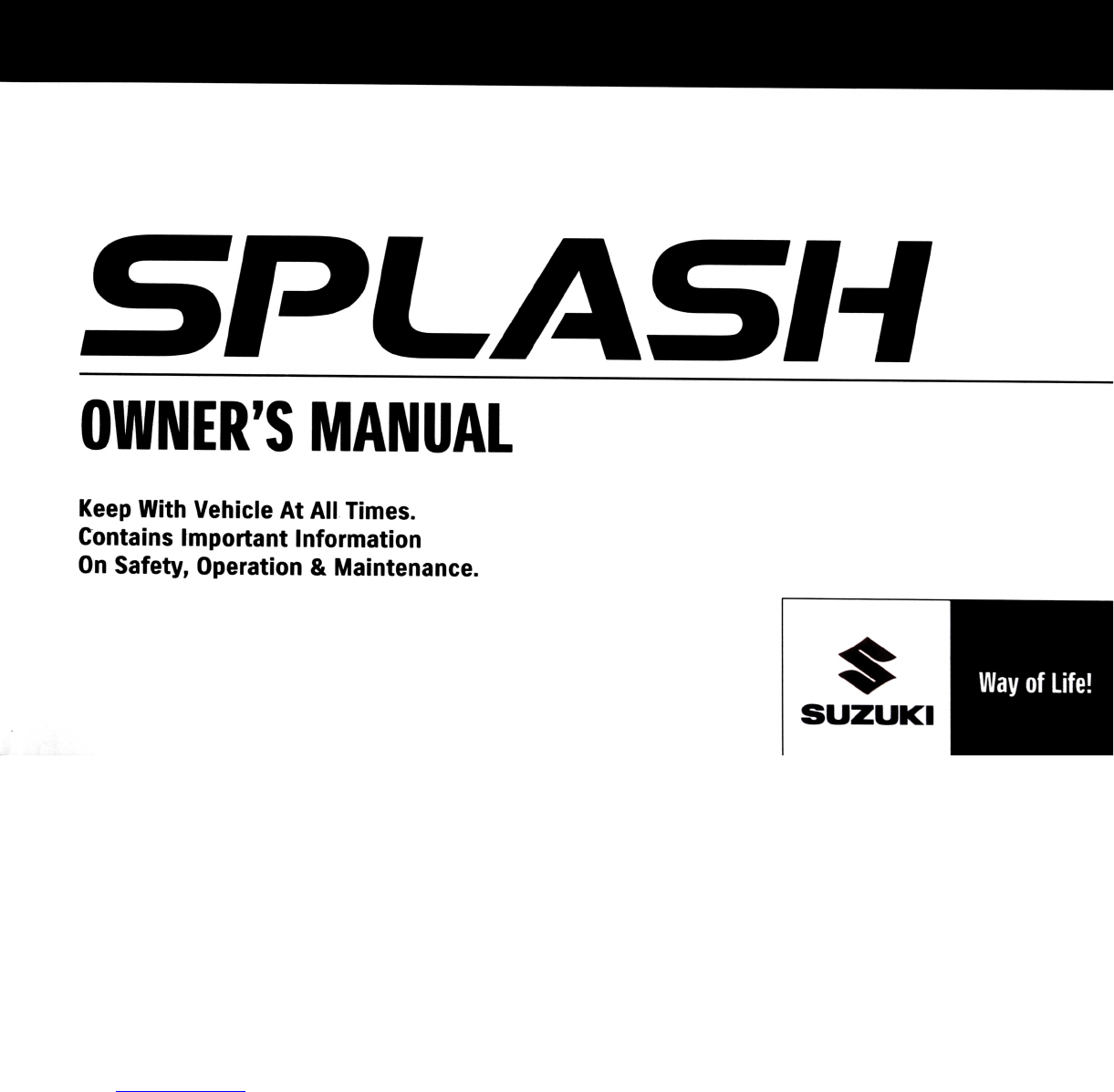 Suzuki Splash 2012 Owners Manual PDF