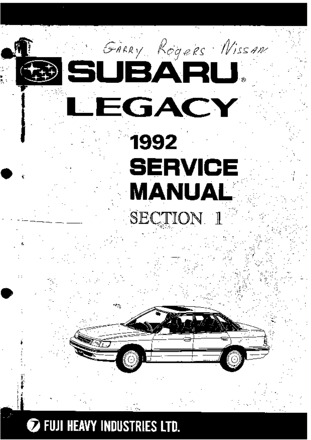Subaru Legacy 1992 Workshop Manual PDF