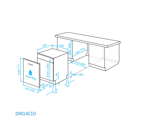 Buy Beko DIN14C10 Built In Fully Integrated Dishwasher