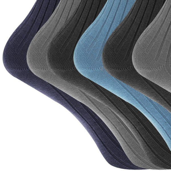 Mens 100 Cotton Ribbed Rib Classic Casual Crew Socks Pack Of 6 Mb144