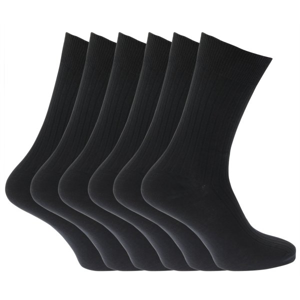 Mens 100 Cotton Ribbed Rib Classic Casual Crew Socks Pack Of 6 Size 7-12