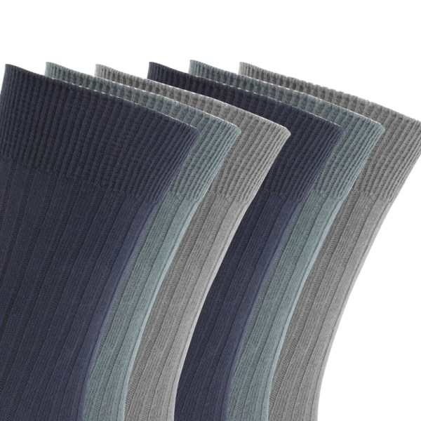 Floso Mens Ribbed 100 Cotton Socks 6 Pairs
