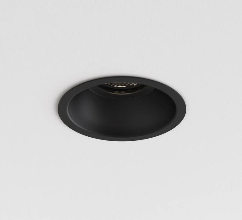 recessed light minima slimline round fixed fire rated ip65 black ip65 led k lm o10cm h7 8cm astro