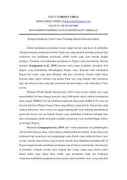 Essay Tentang Virus Corona : essay, tentang, virus, corona, ESSAY, CORONA, VIRUS, (Dampak, Pandemik, (Virus, Corona), Terhadap, Industri, Pariwisata, Dunia).pdf