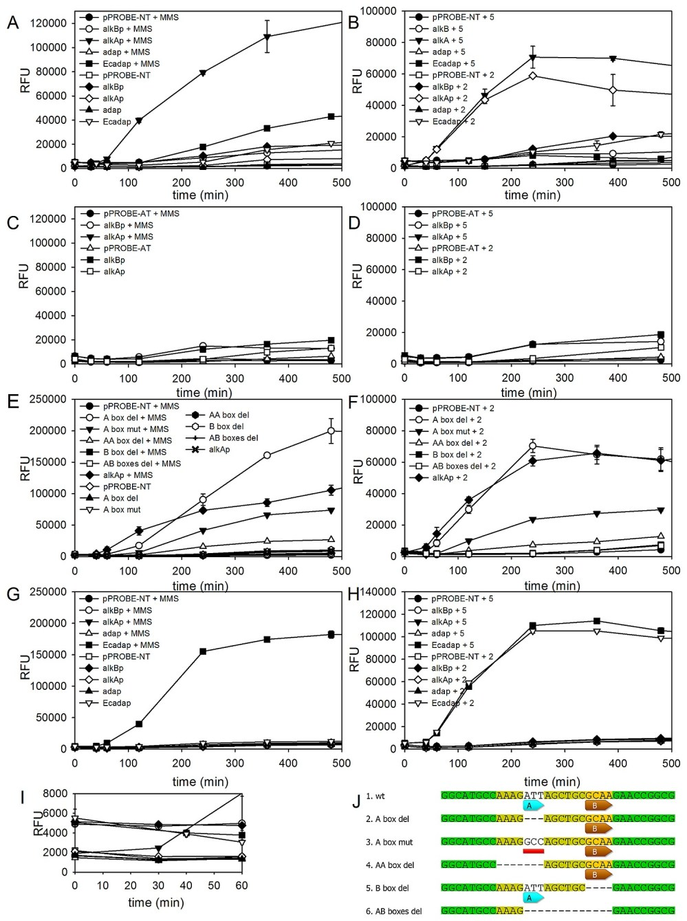 medium resolution of promoter induction based on fluorescence intensities of gfp protein for the p putida wt a b p putida