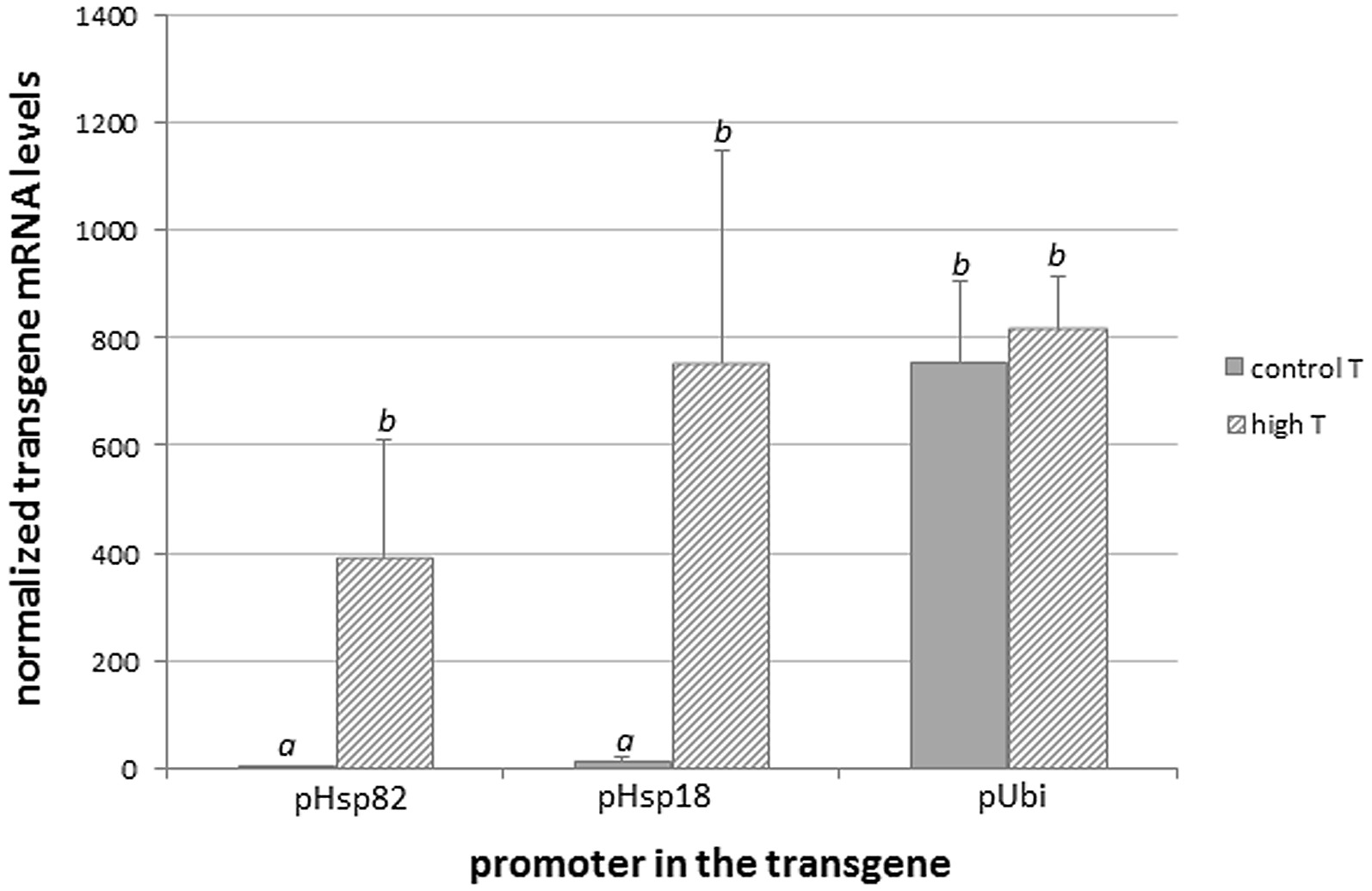 hight resolution of  expression levels in leaves of gm rice plants in which the reporter dsred tag54 was regulated by three different promoters phsp82 phsp18 and pubi