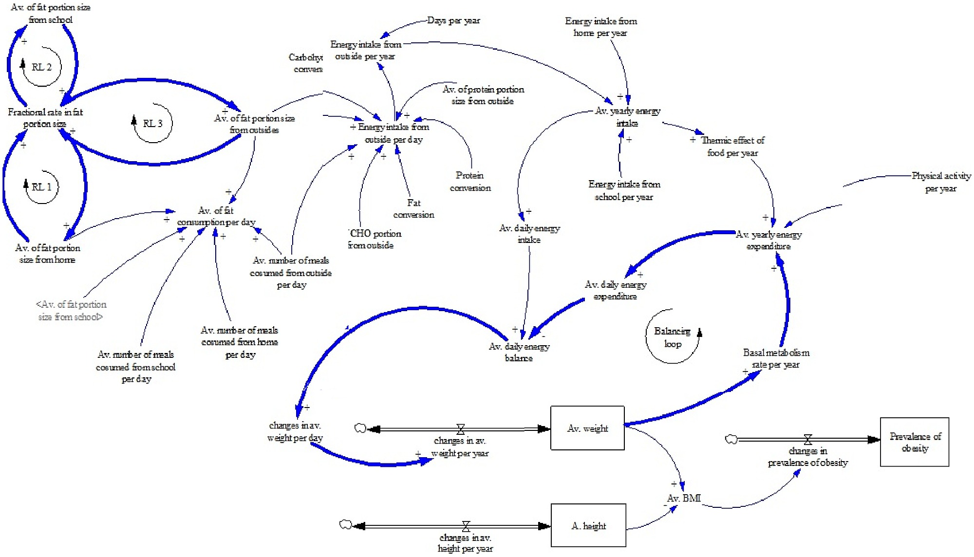hight resolution of causal loop diagram of the interaction of eating and physical activity behavior on weight and obesity