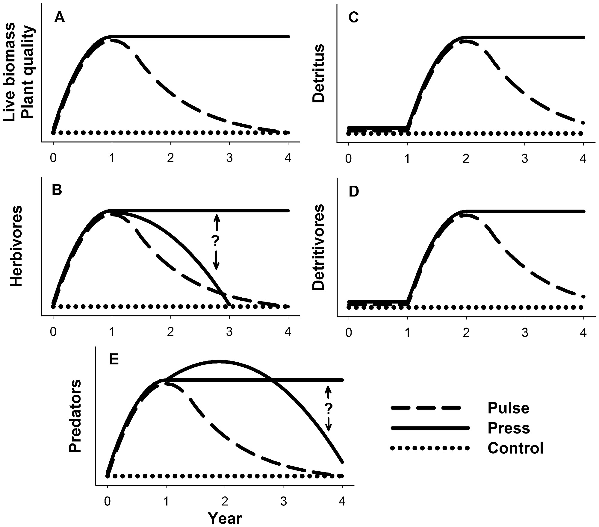 hight resolution of conceptual model of possible inter annual responses of spartina plant parameters and consumer densities to press and pulse nitrogen subsidies