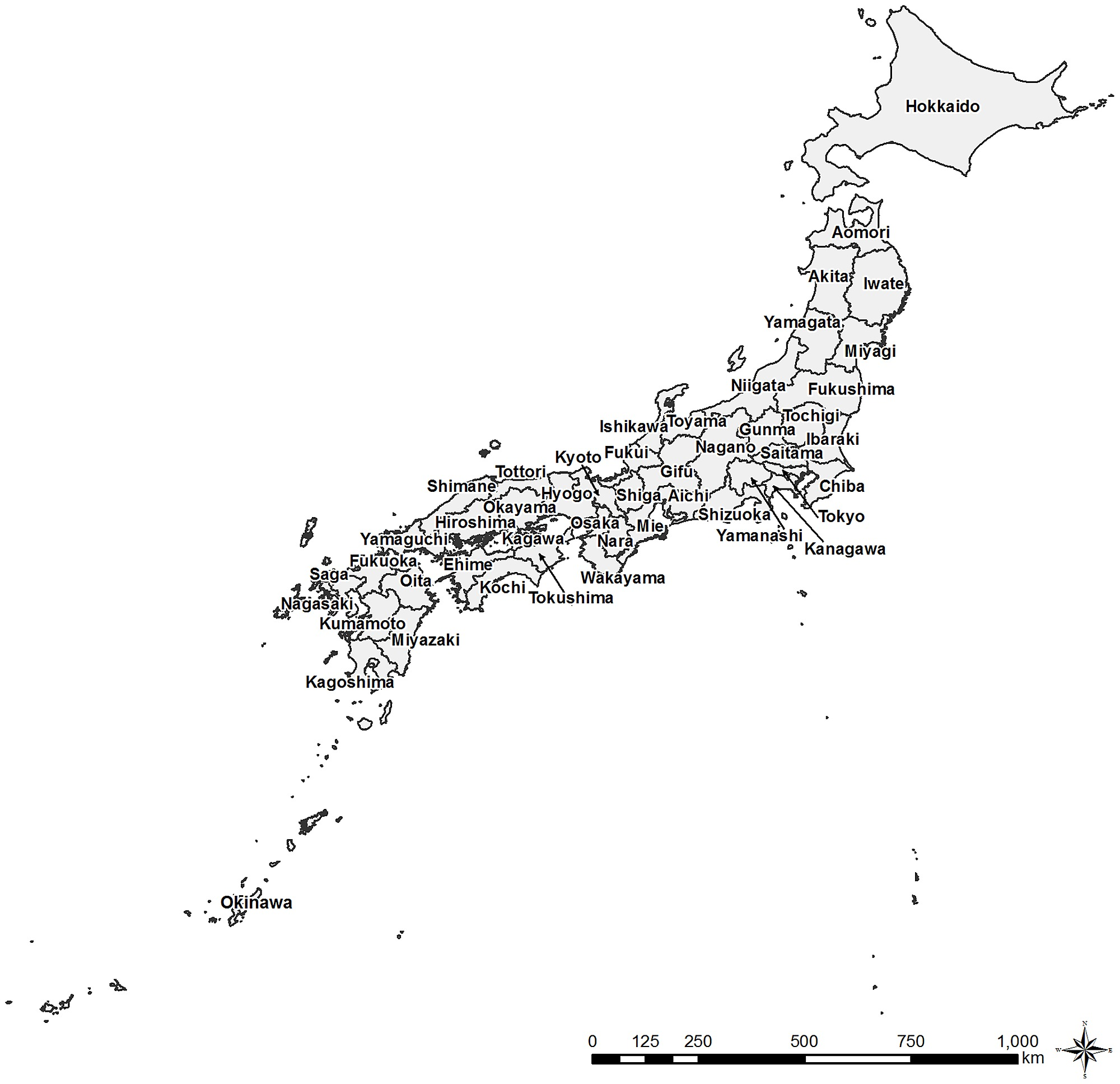 Blank Map Japan Prefectures