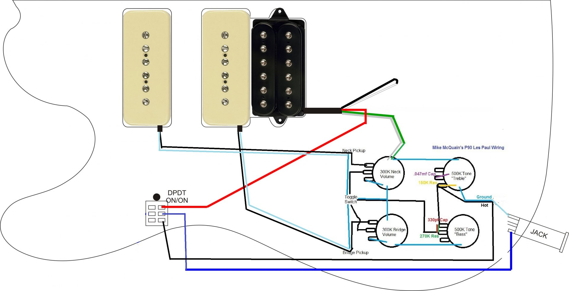 3 conductor pickup wiring diagram boat trailer best library p90 guitar data gibson