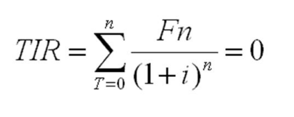 Fórmula de la TIR o Tasa Interna de Retorno