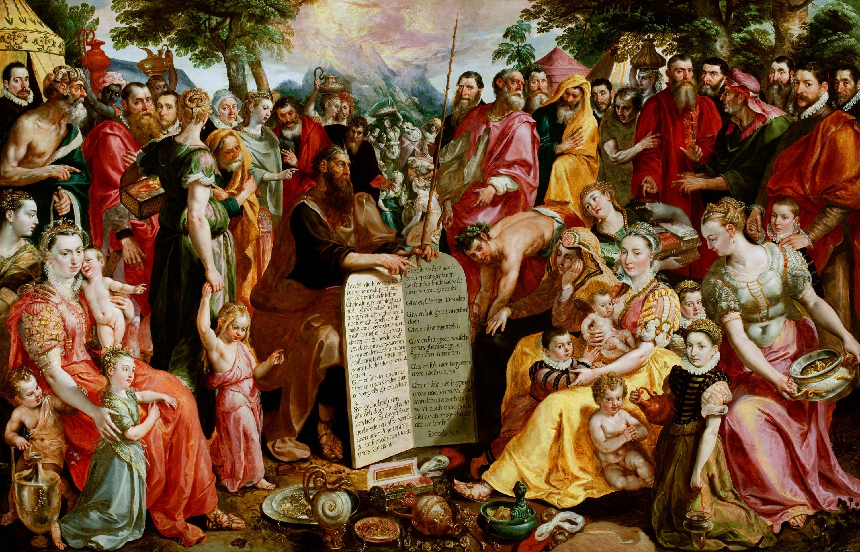 Moses showing his tablets of the Law. Painting by Pieter van Panhuys, 1835.(Wikimedia Commons)