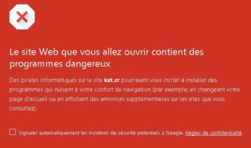 Chrome et Firefox bloquent KickassTorrents