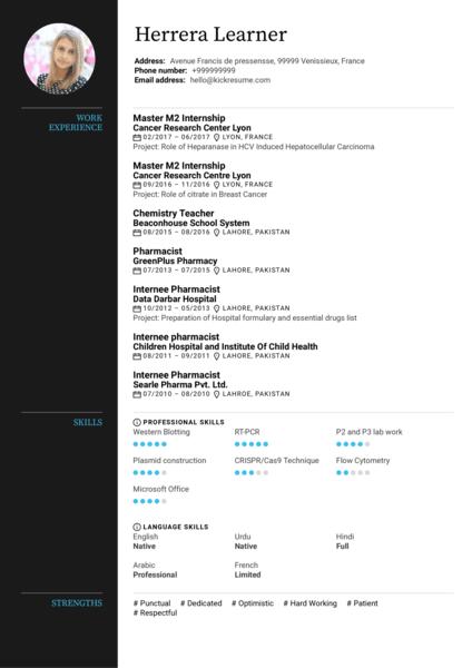 pharmacy intern sample resume