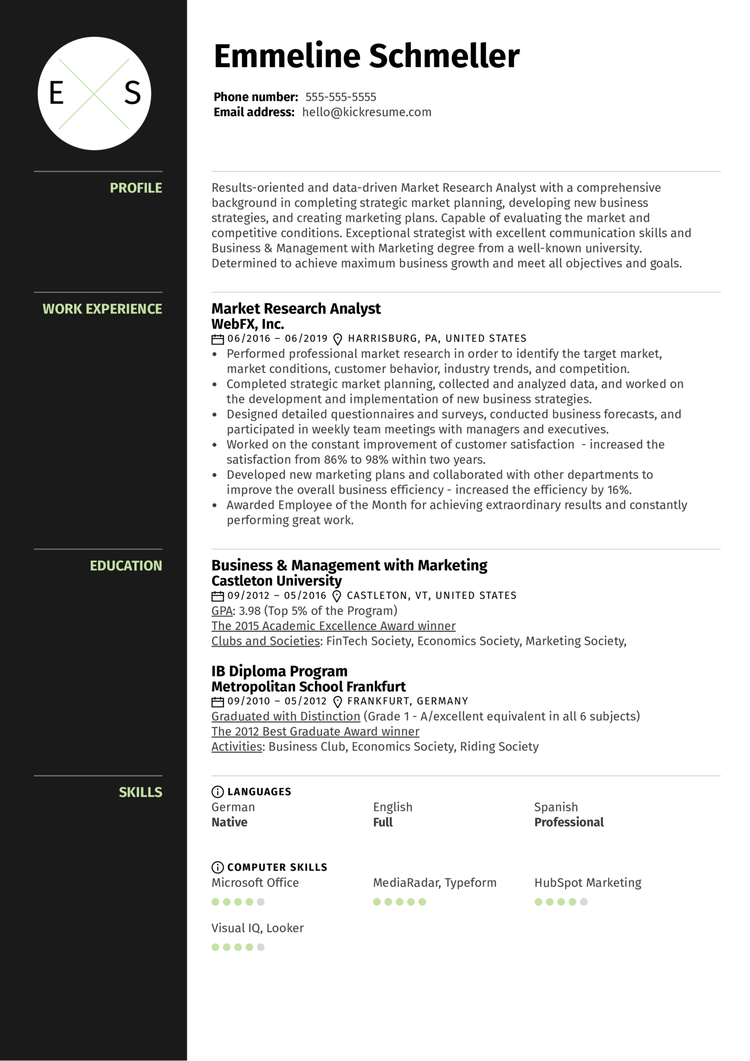 market research assistant resume sample