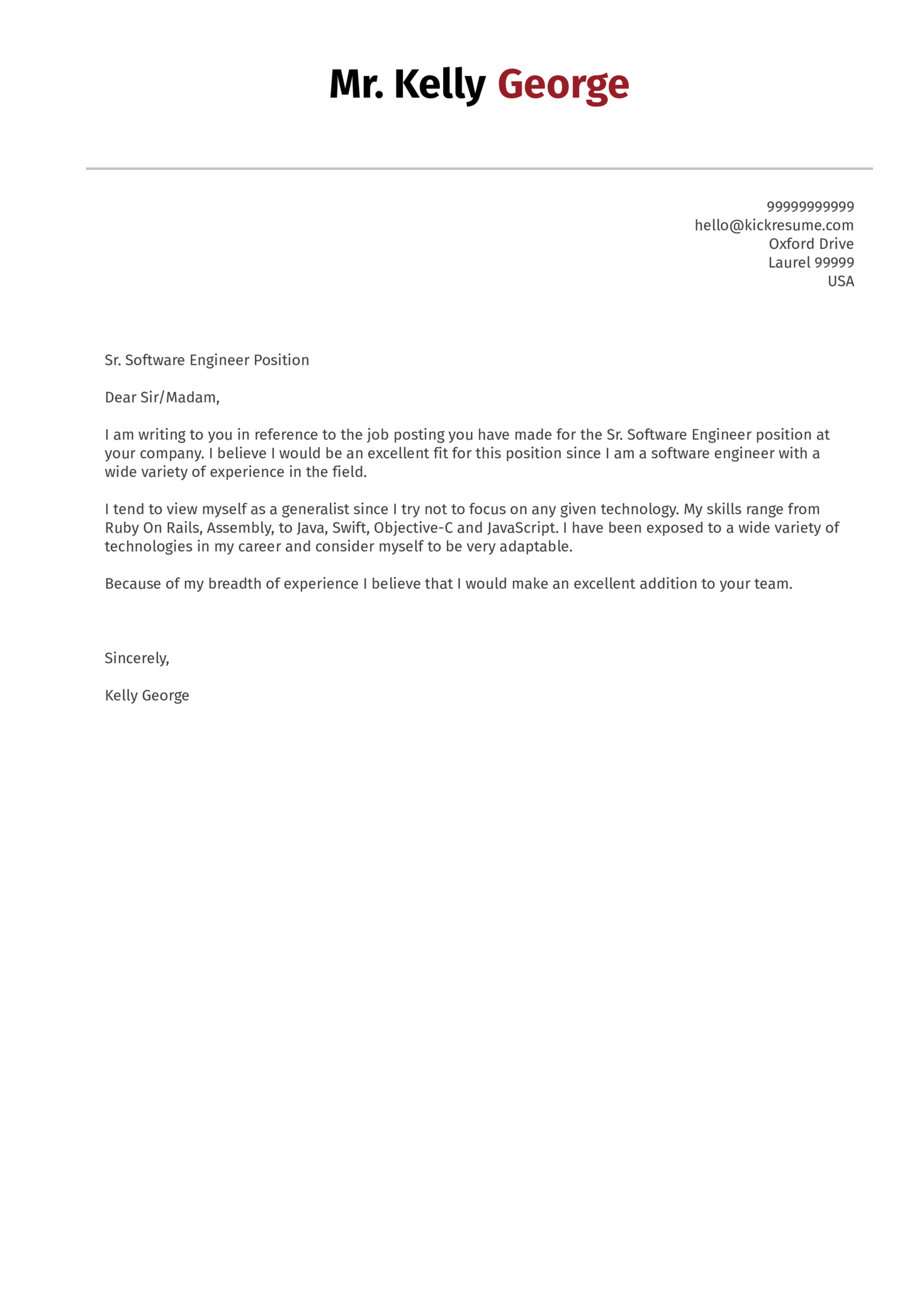 Cover Letter Examples by Real People Senior software engineer cover letter sample  Kickresume