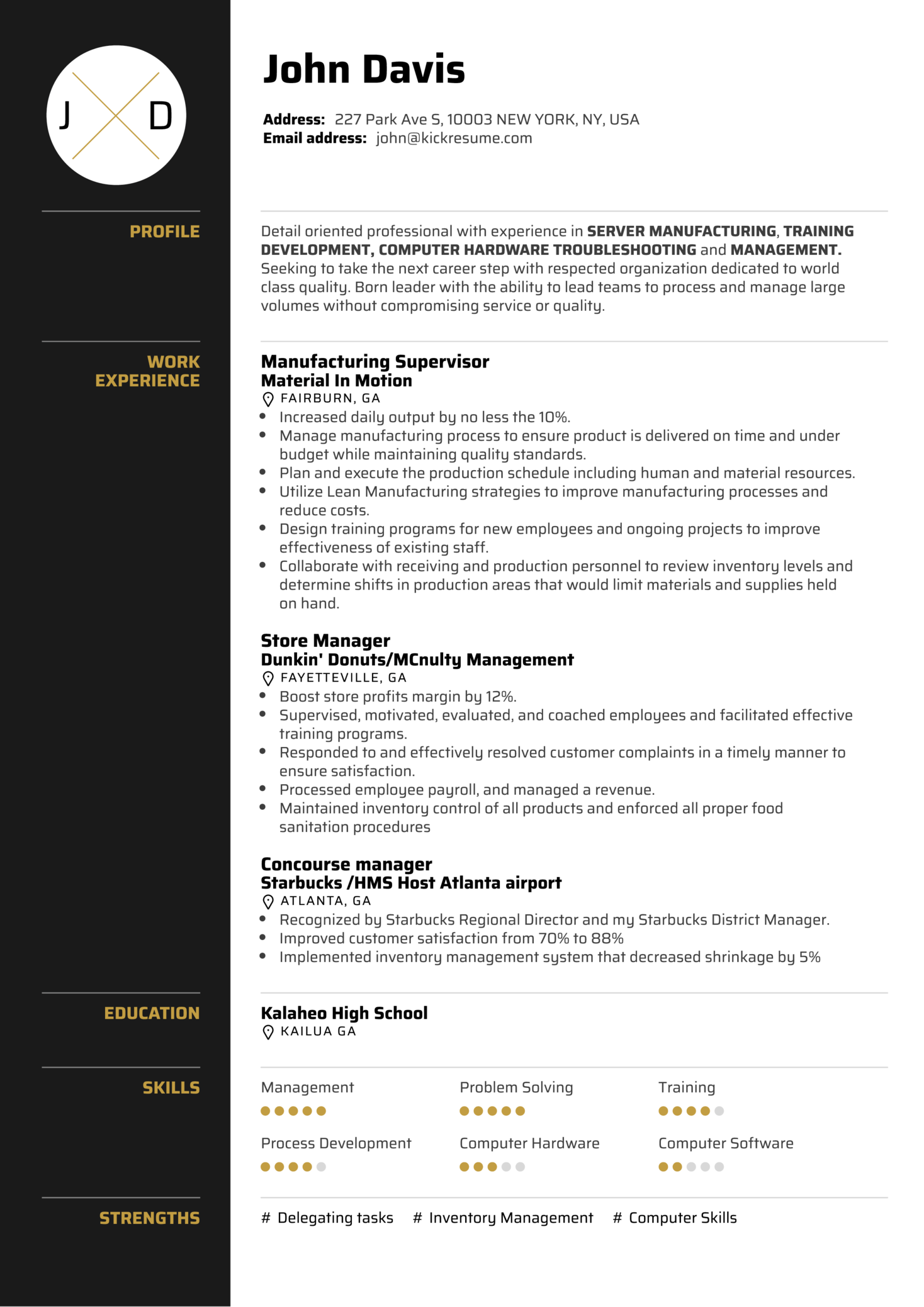 sample resume project manager manufacturing