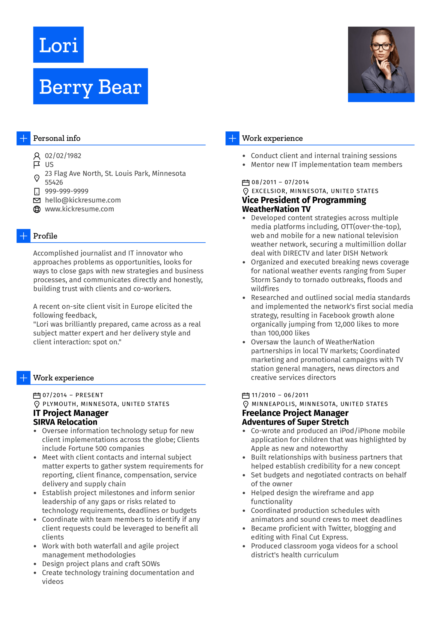 Resume Examples by Real People Project manager Journalist cv sample  Kickresume