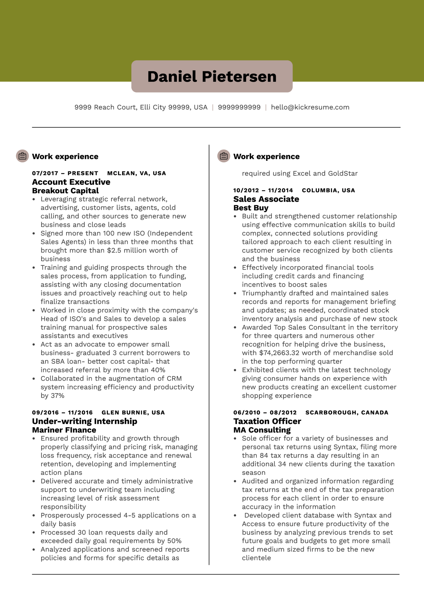 Resume Examples by Real People Account executive resume sample  Kickresume