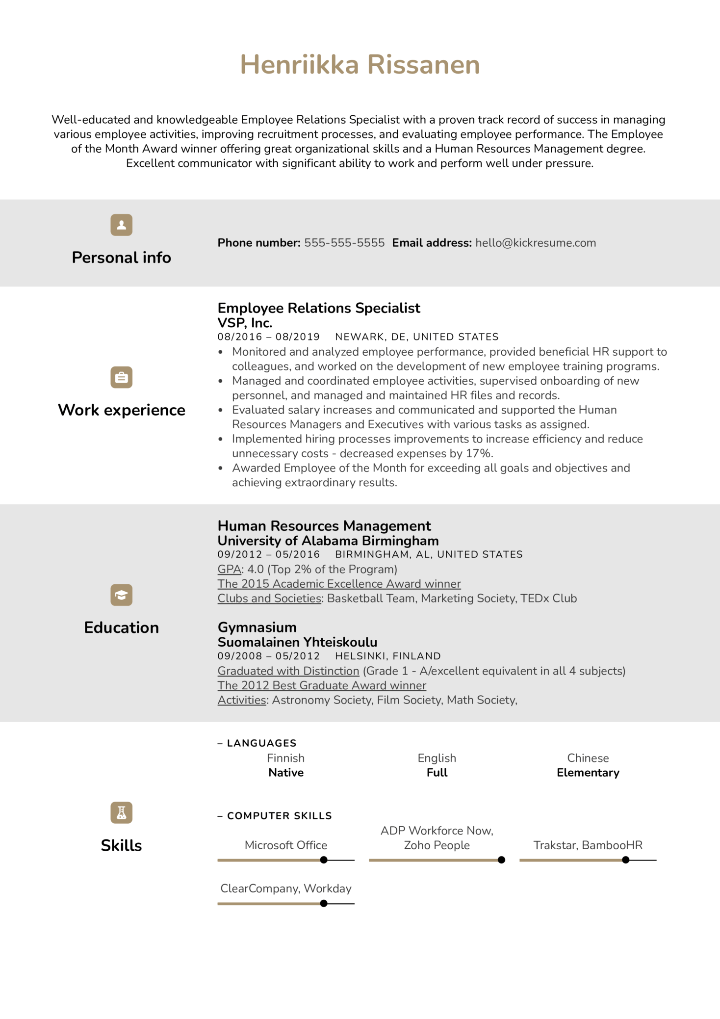 resume examples by real people employee relations