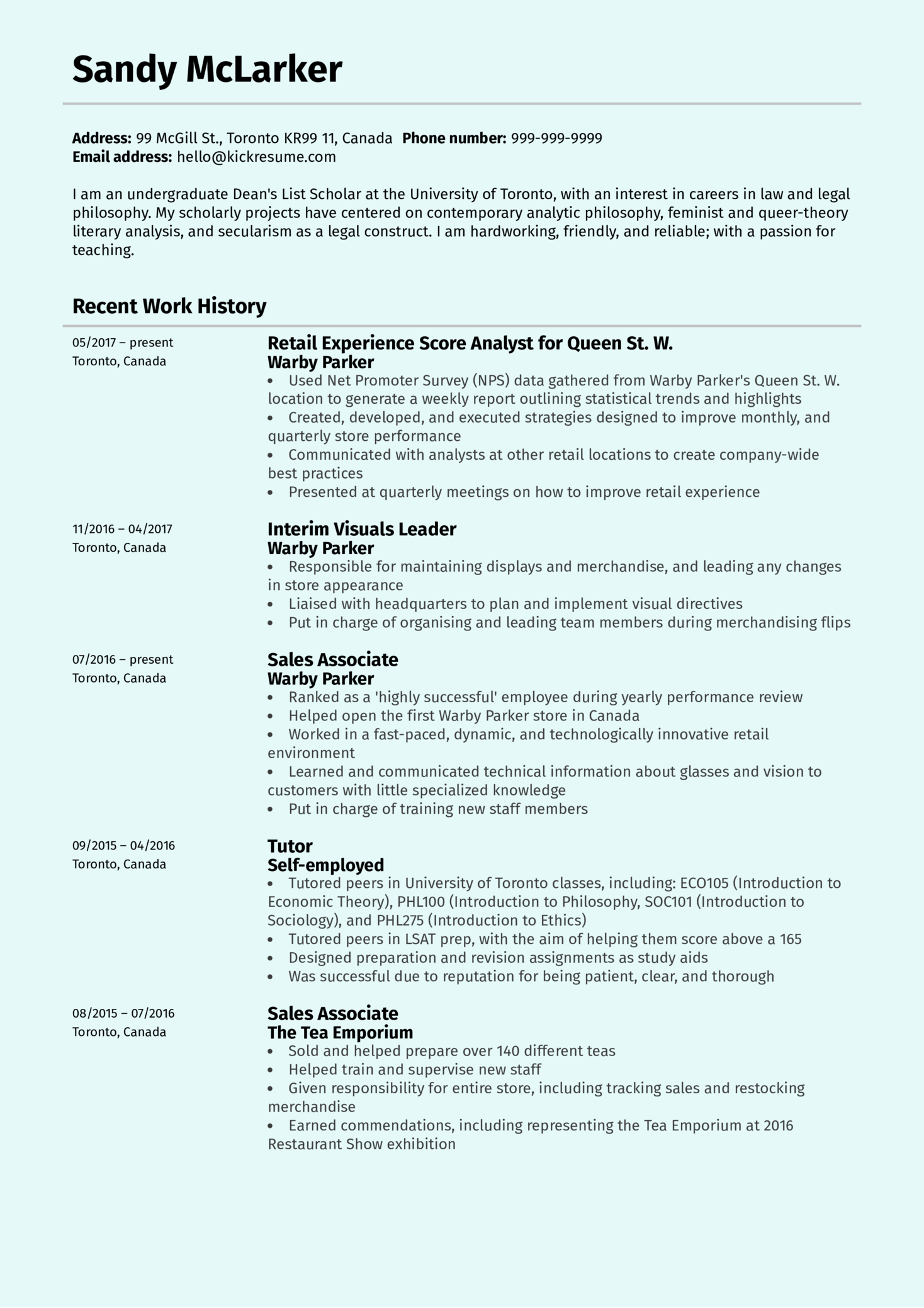 Resume Examples By Real People Retail Experienceyst