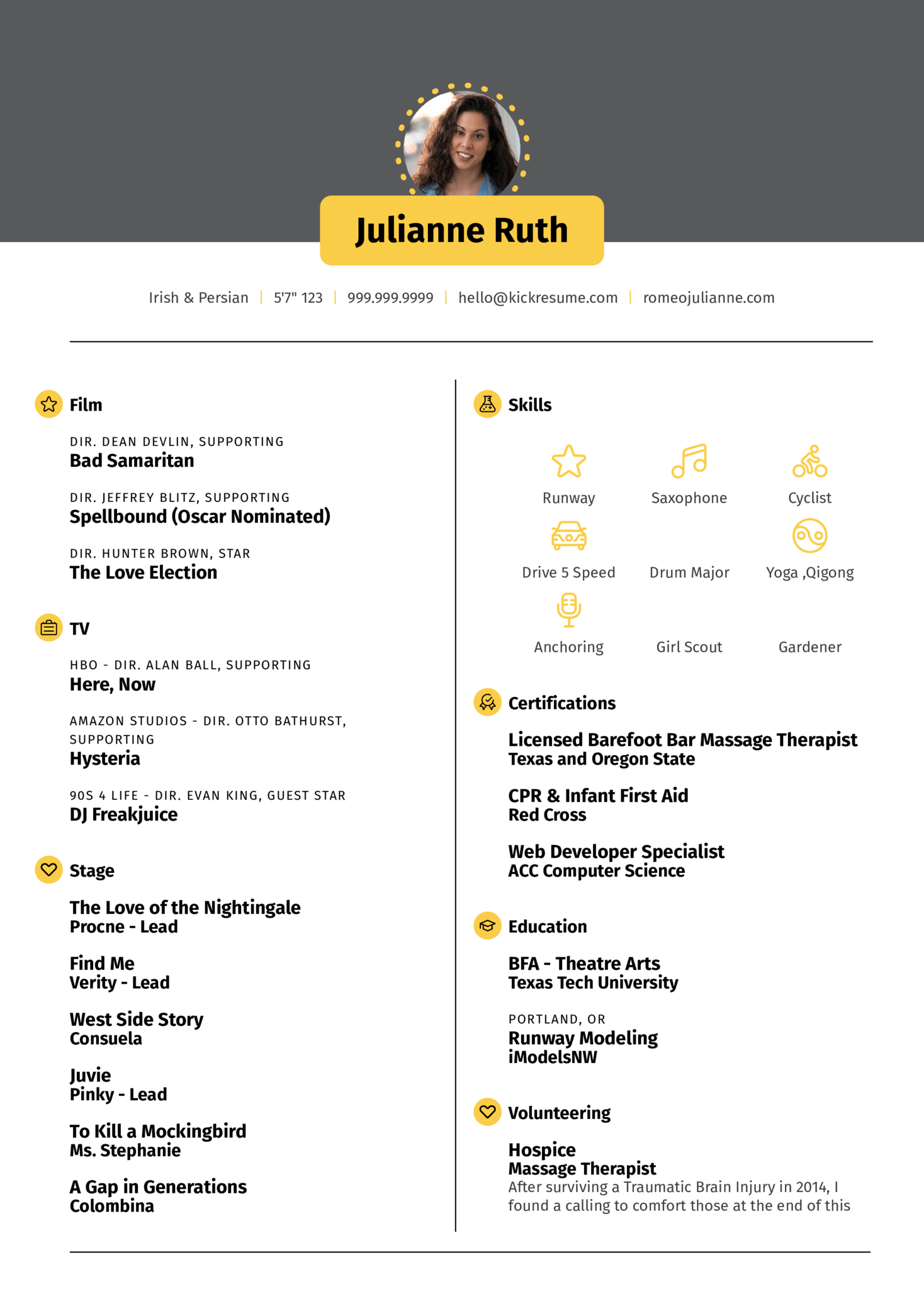 Template Of A Resume Resume Examples By Real People Acting Resume Template Kickresume