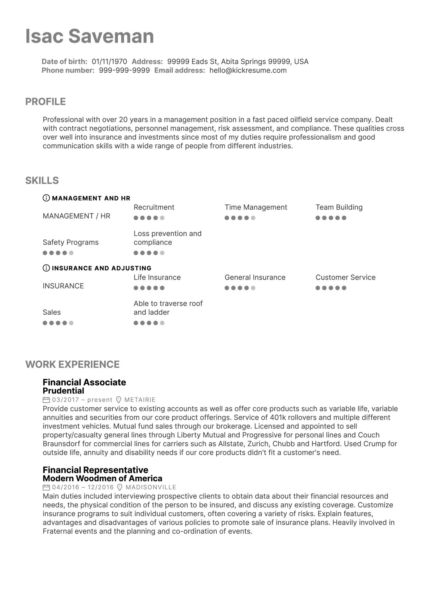 Ciso Resume Resume Examples By Real People Prudential Financial Services