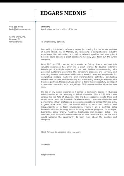 Vendor Cover Letter Example Kickresume