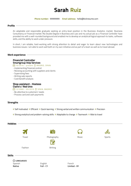 Internship Resume Samples from Real Professionals Who got Hired  Kickresume