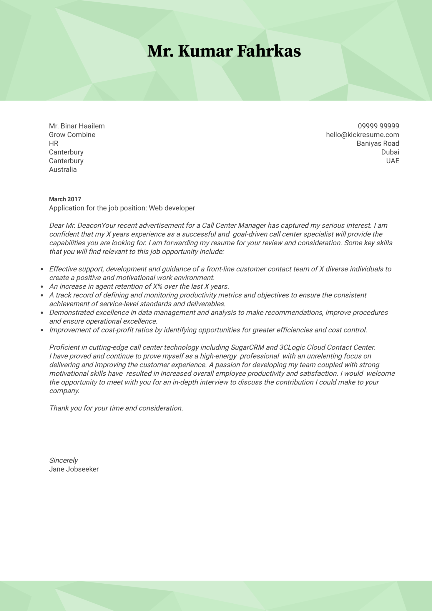 Web Developer Cover Letter Example Cover Letter Examples By Real People Souq Web Developer Cover