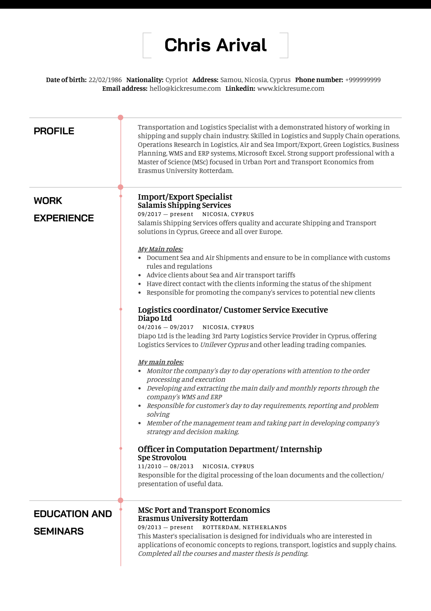 Resume Examples By Real People Logistics Import Export