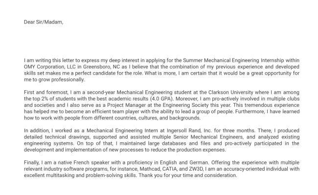 Mechanical Engineering Internship Cover Letter Example Cute766