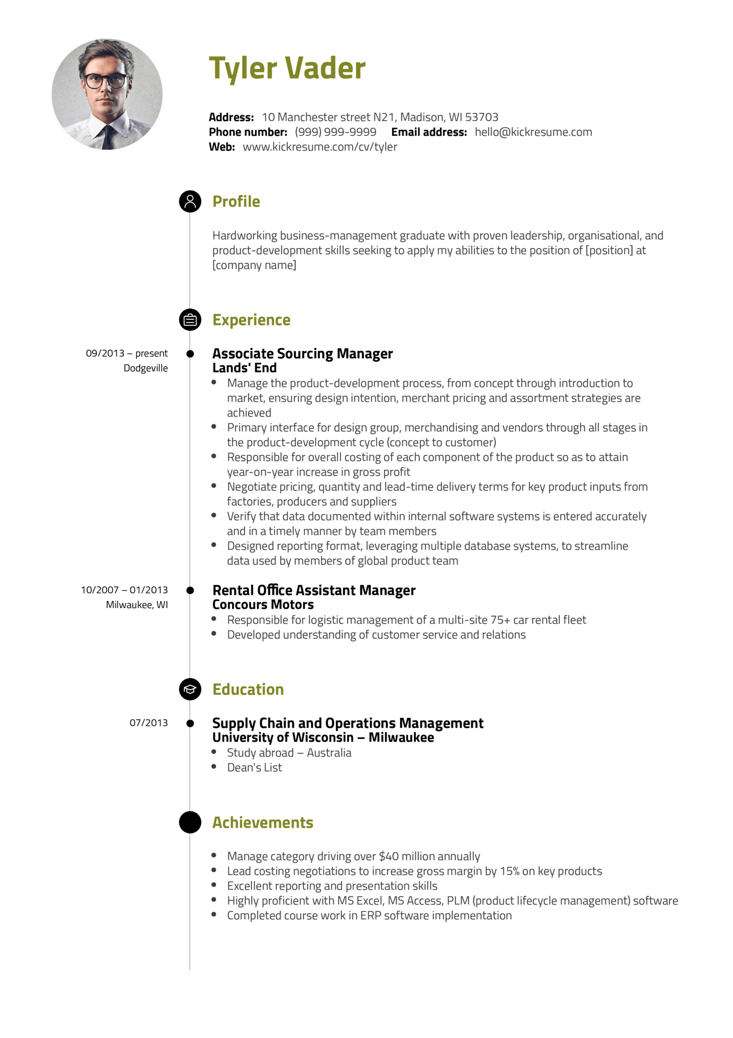Business Management Resume Examples Resume Examples By Real People Business Management Graduate Cv