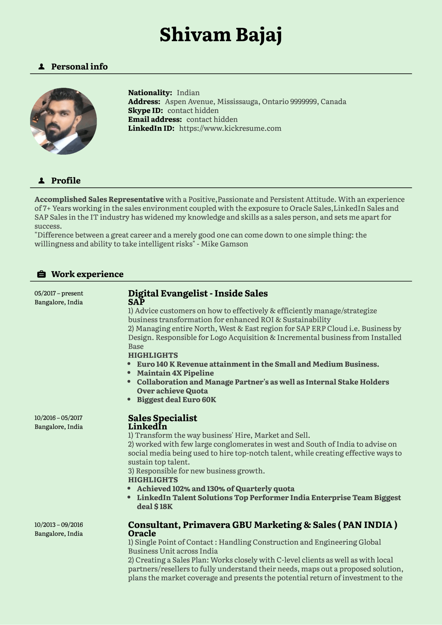 Sales Manager Resume Samples Resume Examples By Real People Sap Inside Sales Manager