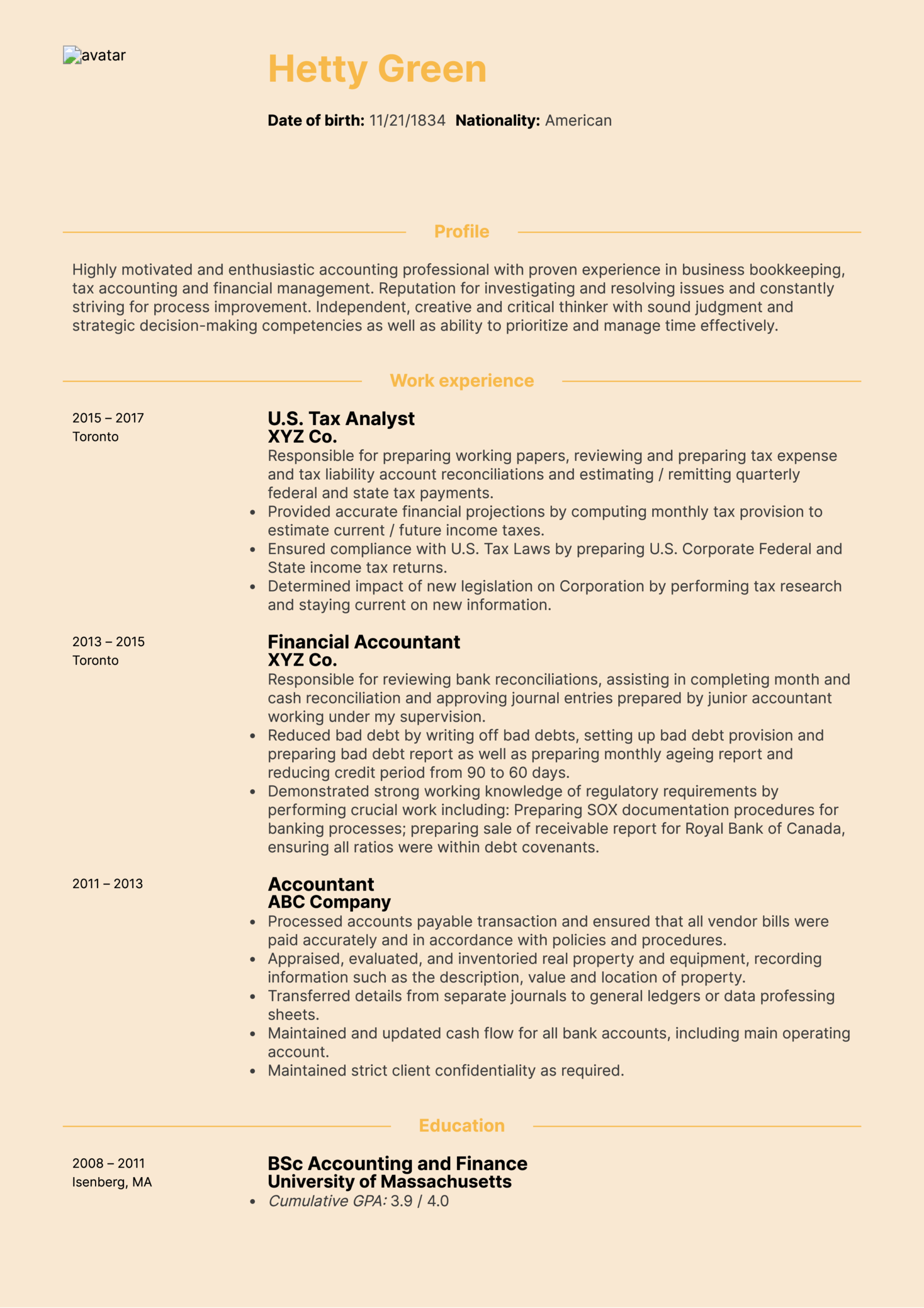 Accountant Sample Resume Resume Examples By Real People Cpa Tax Accountant Resume