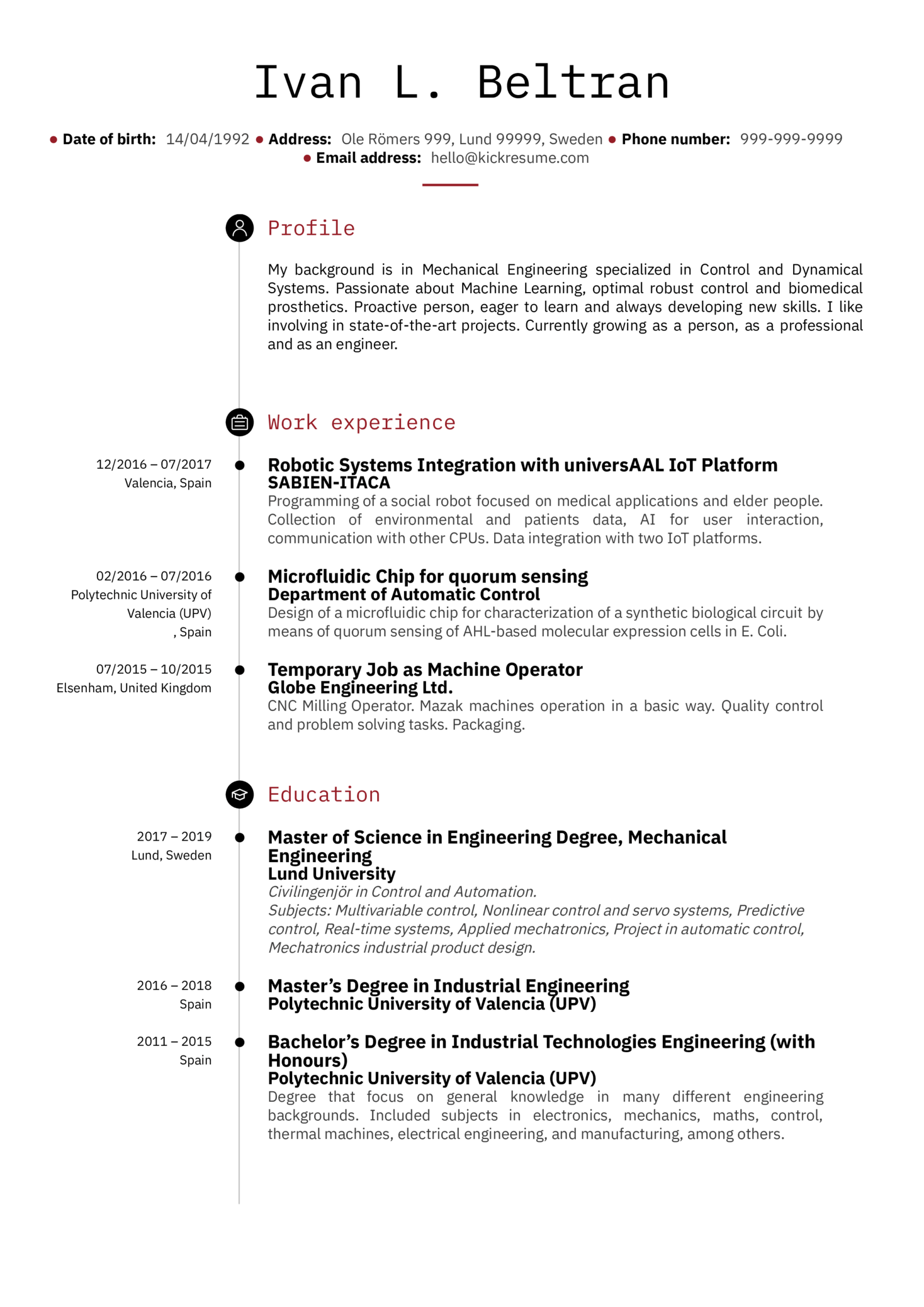 Sample Engineering Resume Resume Examples By Real People Sabien Itaca Software