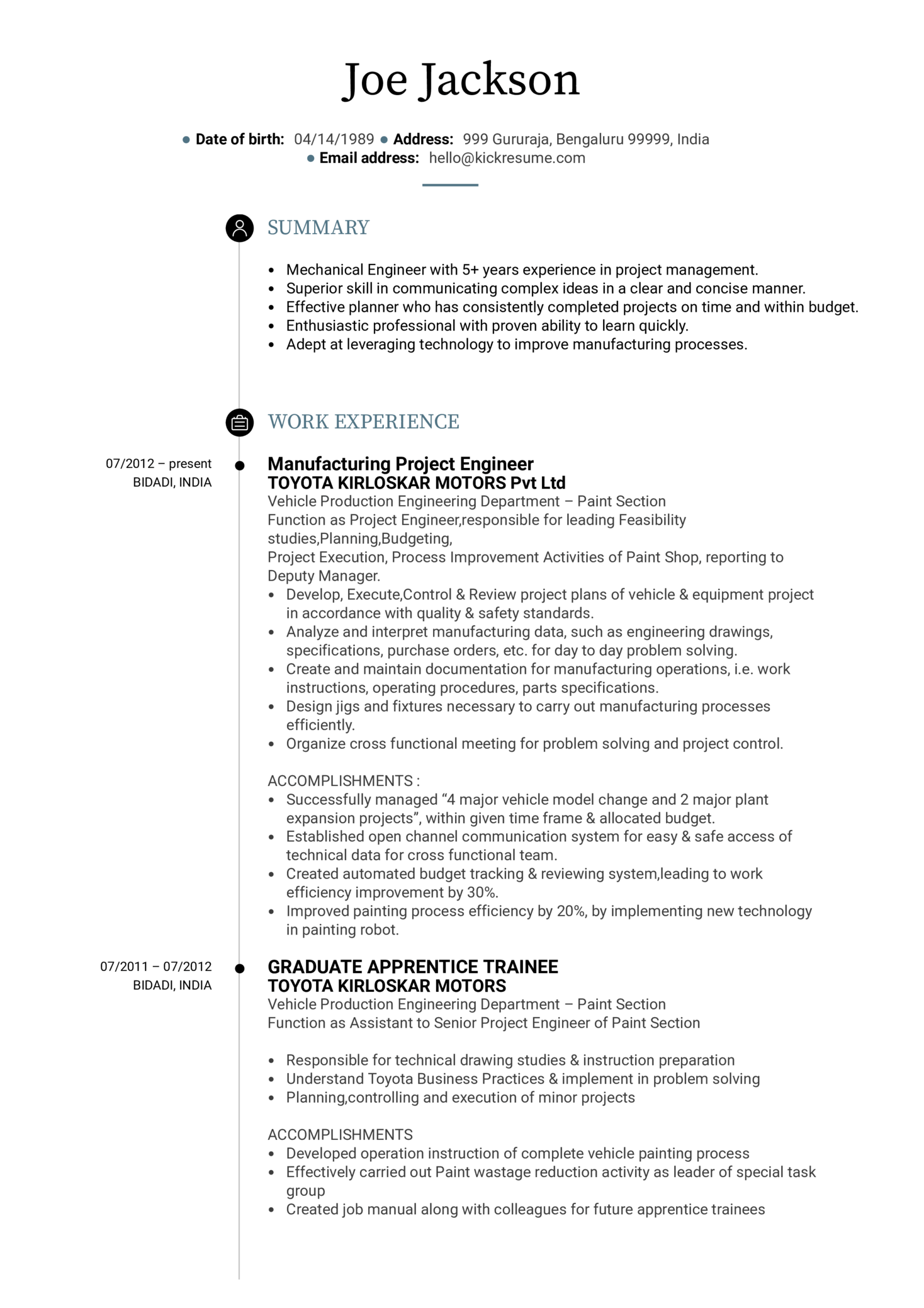 Sample Engineering Resume Resume Examples By Real People Project Engineer Cv Sample