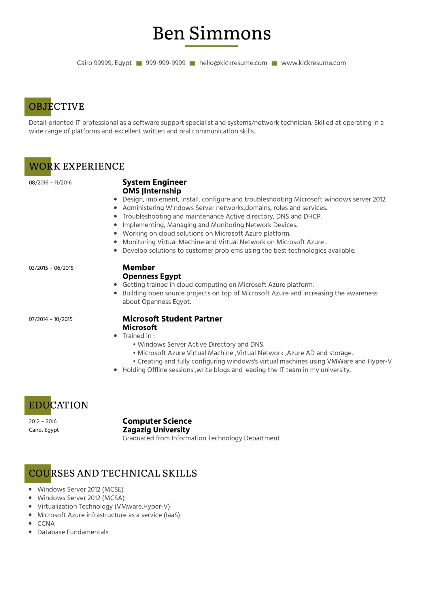 senior network administrator resume sample