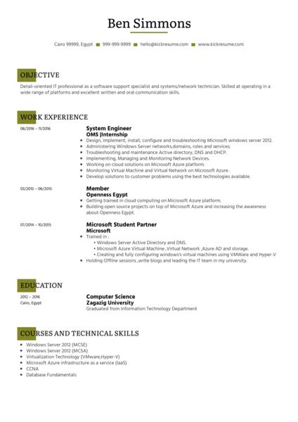 Resume Format For Vmware Administrator