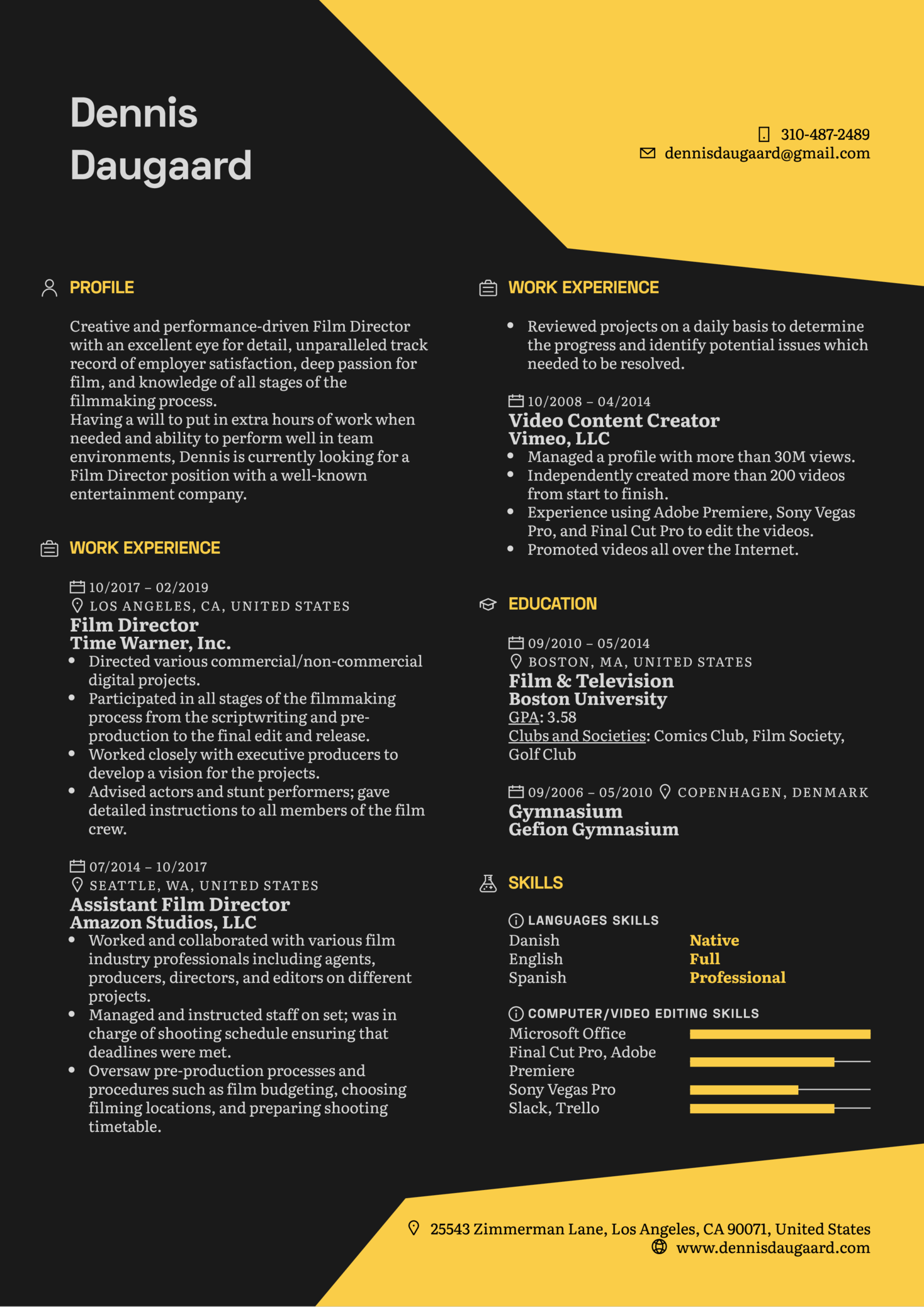 sample filmmaker resume