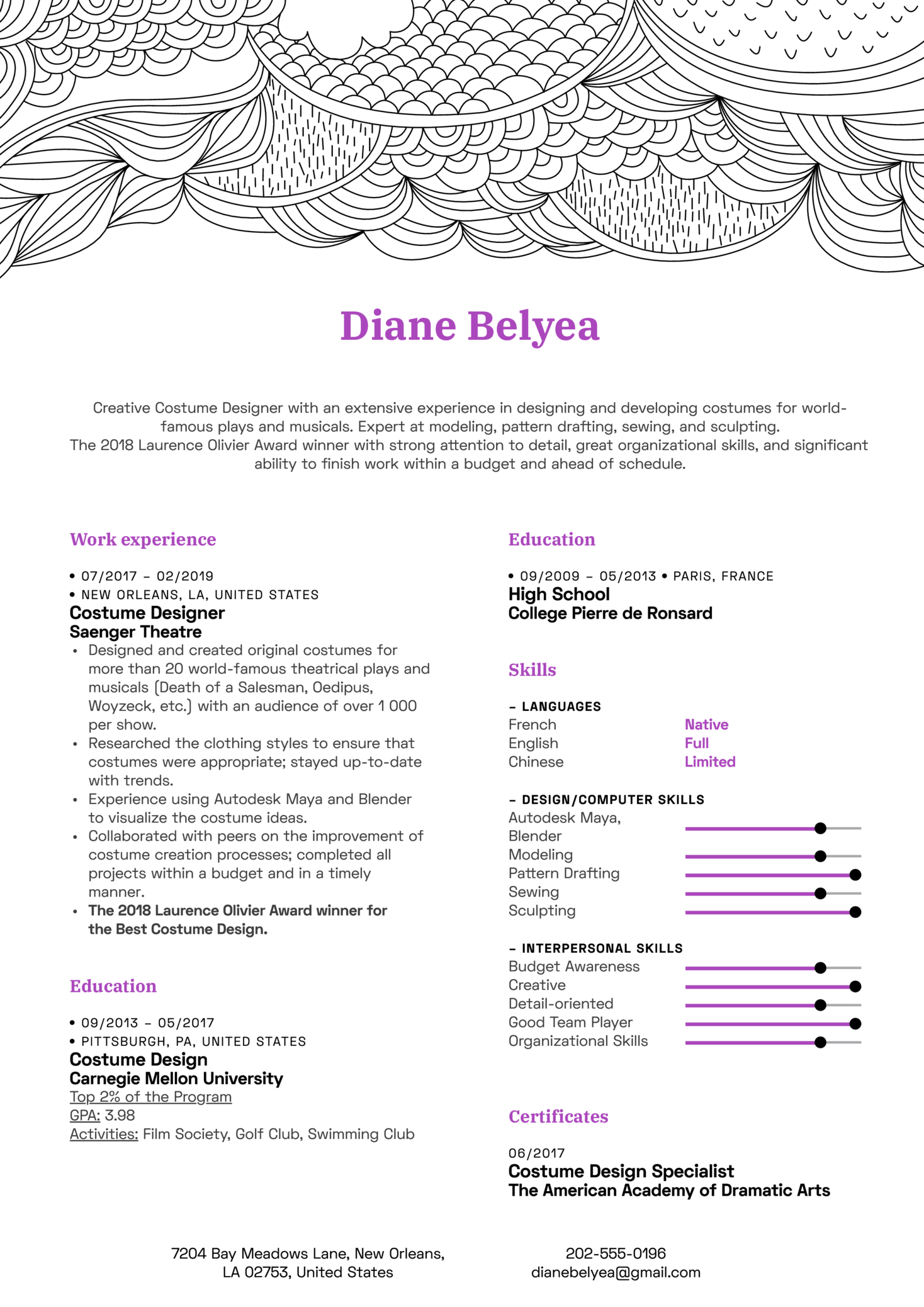 sample resume for costume designer
